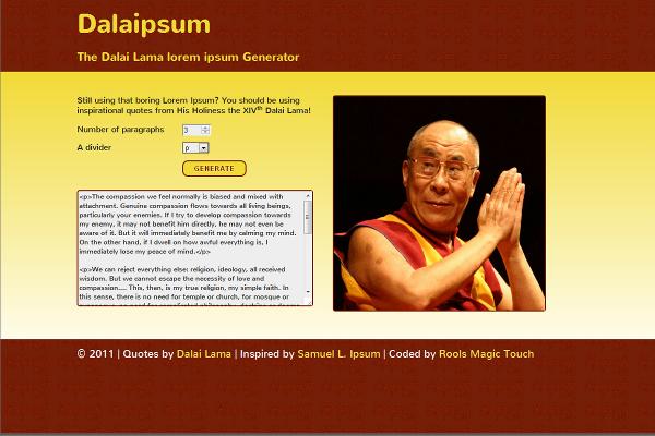 Dalaipsum, the Dalai Lama lorem ipsum Generator
